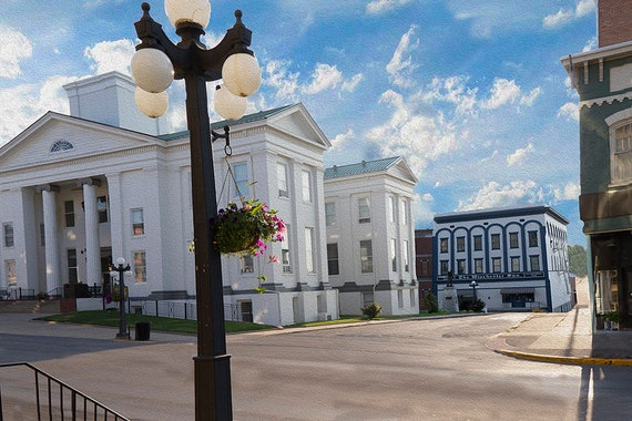 Winchester Kentucky Courthouse without dome, fine art giclee print on paper, canvas custom orders welcome