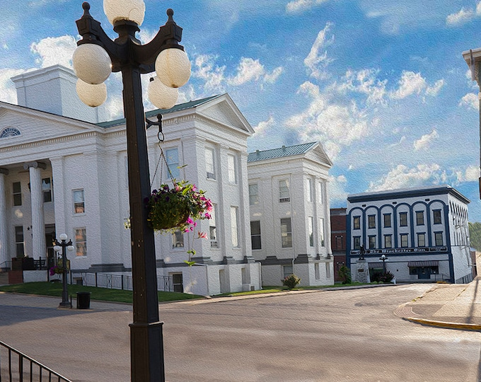 Clark County Courthouse  Winchester Kentucky without Dome Fine Art Giclee Print on Paper Canvas or Wood by Brenda Salyers by Brenda Salyers