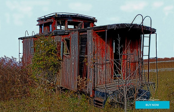 Abandoned Caboose Farmers Kentucky Giclee Print on Fine Art Paper Canvas or Wood by Brenda Salyers by Brenda Salyers
