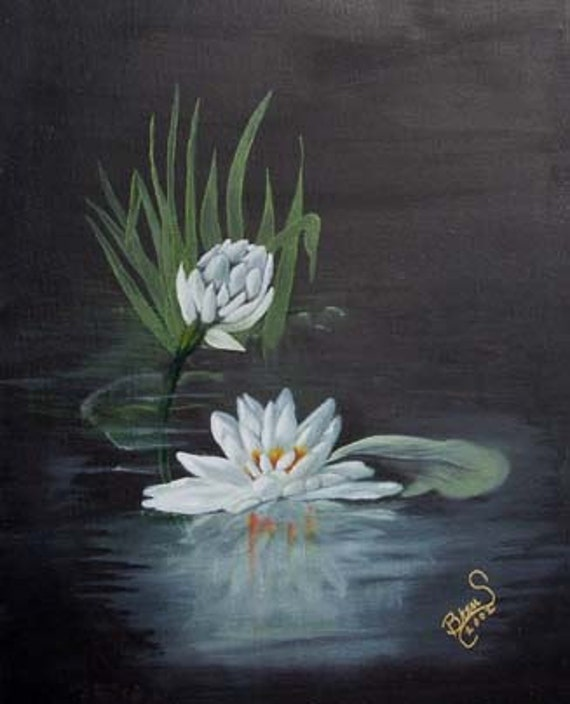 Water Lily Giclee Print on Fine Art Paper Canvas or Wood by Brenda Salyers by Brenda Salyers