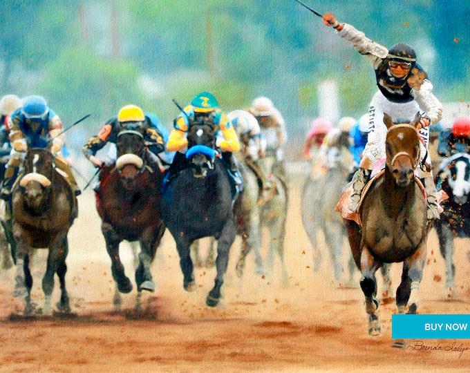 Mine That Bird Kentucky Derby Winner Giclee Print on Fine Art Paper Canvas or Wood