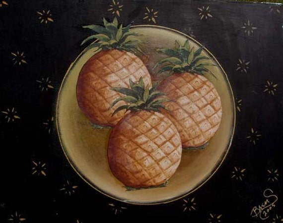 Pineapples Giclee Print on Fine Art Paper or Canvas.