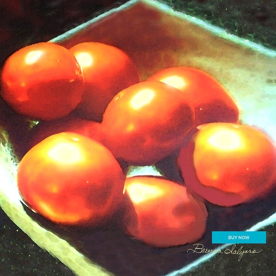 Tomato's Red Ripe, Fine Art Print on Paper Canvas or Wood by Brenda Salyers by Brenda Salyers