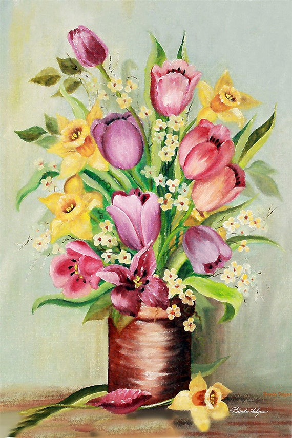 Daffodills & Tulips Giclee Print on Fine Art Paper Canvas or Wood by Brenda Salyers by Brenda Salyers