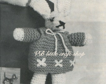 Bunny rabbit girl soft toy knitting pattern. Instant PDF download!