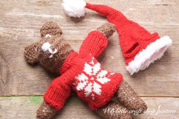 Christmas Teddy Bear Knitting Pattern Easy Pattern Lovely Etsy