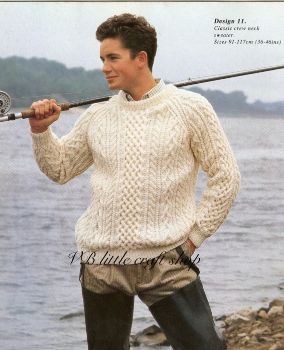 Man\'s aran sweater knitting pattern. Instant PDF download | Etsy