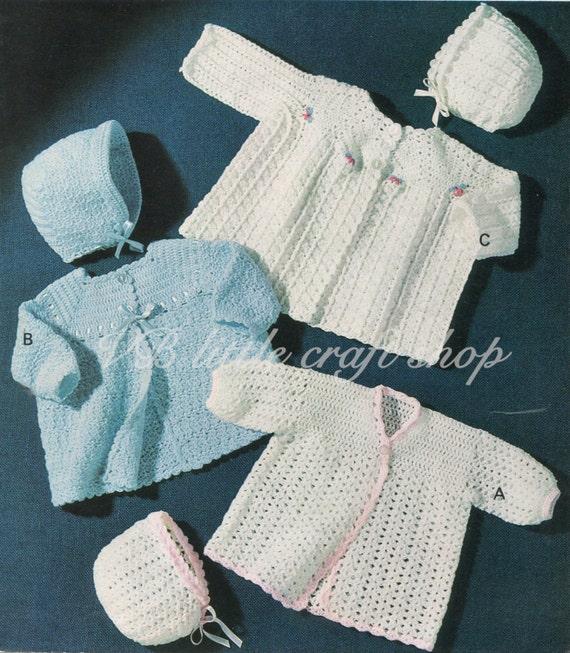 Matinee capa y Bonete conjuntos crochet patrones. Instant | Etsy