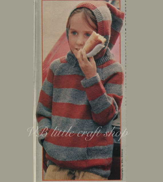 Childs Hoodie Knitting Pattern Instant Pdf Download Etsy