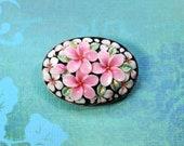 Vintage Toshikane of Japan Plumeria Blossoms Flowers Porcelain Pin Brooch