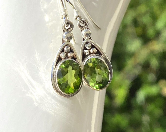 Oval Peridot Deco Earrings Sterling Silver - August Gemstone Birthstone 8.5mm x 6.5mm Peridot Dangle Earrings from Beautiful Silver Jewelry