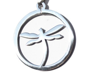 Dragonfly Pendant Necklace Stainless Steel Pendant for Women, Men, Teens on 16, 18, or 22 Inch SP Snake Necklace Chain