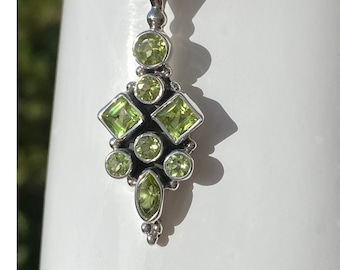 Peridot Gemstone Pendant Necklace 925 Sterling Silver - Square, Round, Marquise Gemstone Green Peridot Pendant, August Birthstone Jewelry