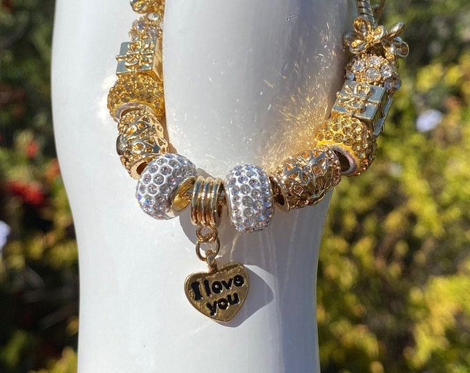 I LOVE YOU Crystal Charm European Charm Bracelet on Snake Chain with Adjustable  Clasp - Changeable Bead Large Hole DYI Bracelet