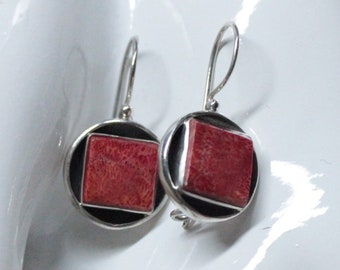 Square Red Coral Sterling Silver Earwire Earrings with Safety Hook Back - Exclusively from Beautiful Silver Jewelry