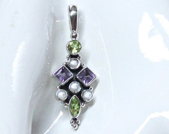 Suffragette Pendant Necklace Sterling Silver Handmade with Peridot, Amethyst and Pearl Gemstones Representing Women's Rights Movement by BSJ