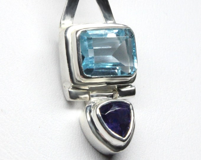 Blue Topaz and Iolite Gemstone Pendant Necklace