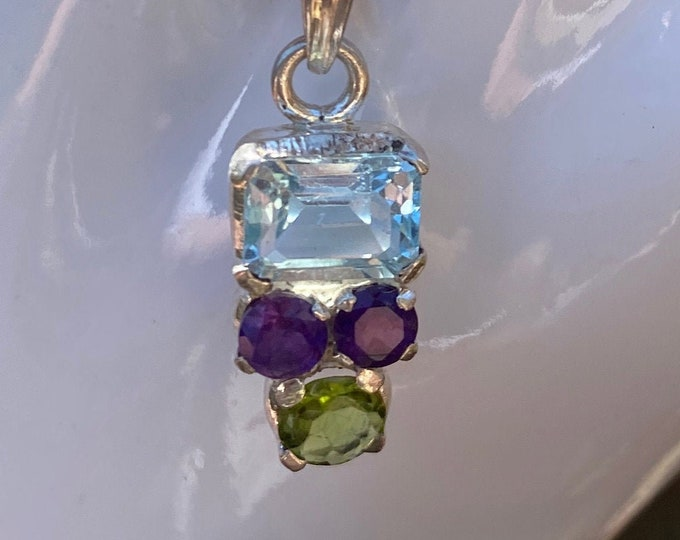 Blue Topaz, Amethyst, Peridot Gemstone Pendant in Sterling Silver Birthstone Gemstone Necklace Includes SP Chain, Gift Box and Fast Shipping