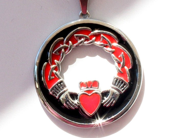 Celtic Design Red and Black Stainless Steel Pendant Necklace In Your Choice of Chain Length