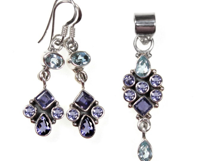 Iolite and Blue Topaz Gemstone Earrings and Pendant or Set Handcrafted in 925 Sterling Silver - Exclusively from Beautiful Silver Jewelry