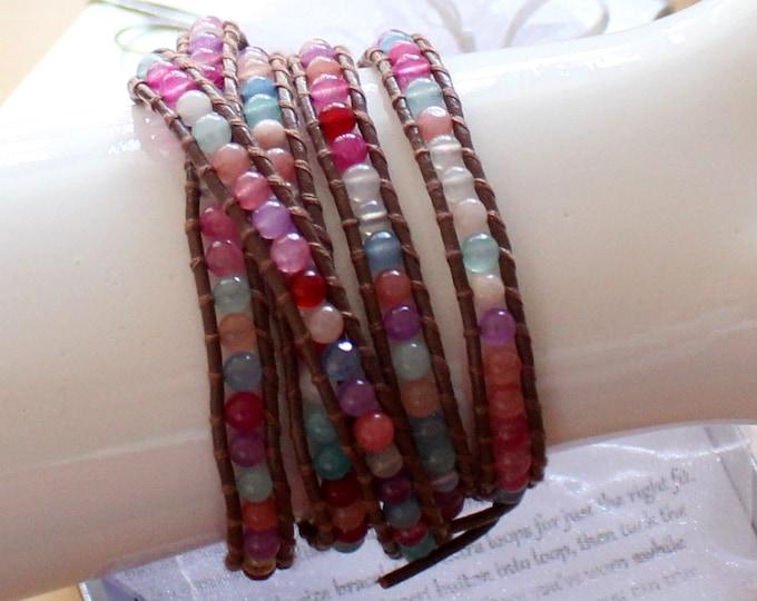 Beautiful Color Agate Bead Wrap Bracelet Hand Sewn on Genuine Leather Wraps 5x Around Wrist