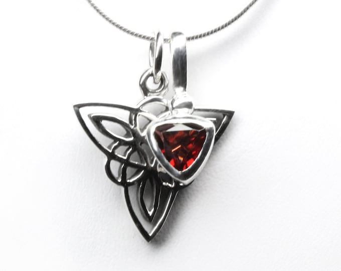 "Trillion-cut Garnet and Celtic Triangle Sterling Silver Pendant Necklace January Birthstone Gemstone, Makes 3 Necklaces - Choose 16"" or 18"""