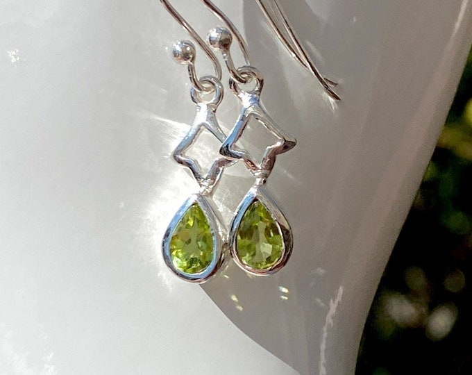 Pear Cut Peridot Earrings Sterling Silver - August Birthstone Gemstone - Sterling Silver Earwire Dangle Earrings - Beautiful Silver Jewelry