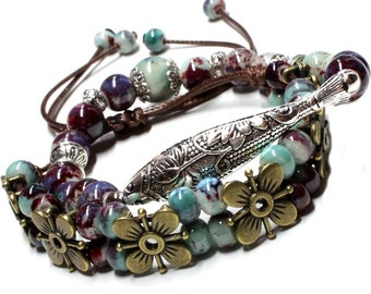 Two Bracelet Set Handcrafted Teal Blue and Cranberry Red Ceramic Beads in Fish and Flower Design, Stretch and Drawstring, Stack Bracelets
