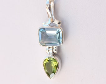 Sky Blue Topaz and Peridot Gemstone Sterling Silver Pendant Necklace December and August Birthstone Gemstones by BSJ Custom Designer Jewelry