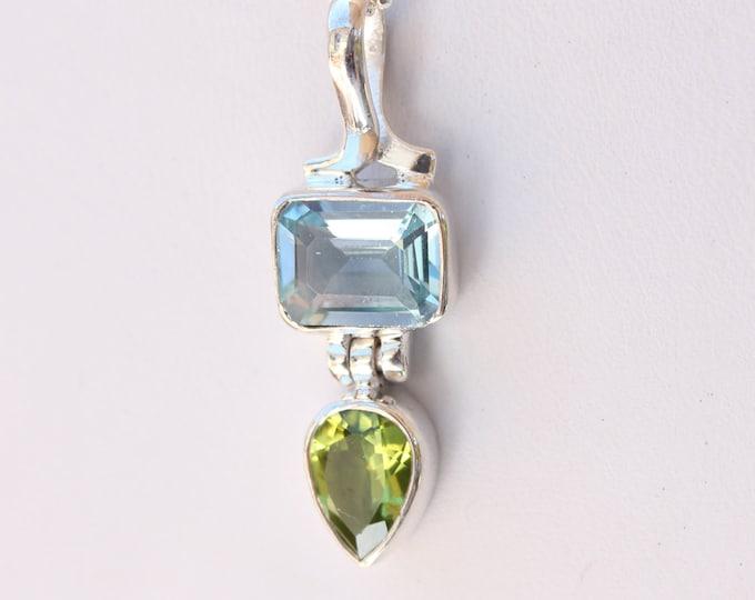 Sky Blue Topaz and Peridot Gemstone Sterling Silver Pendant Necklace December and August Birthstone Gemstones by BSJ Custom Designer Jewelry