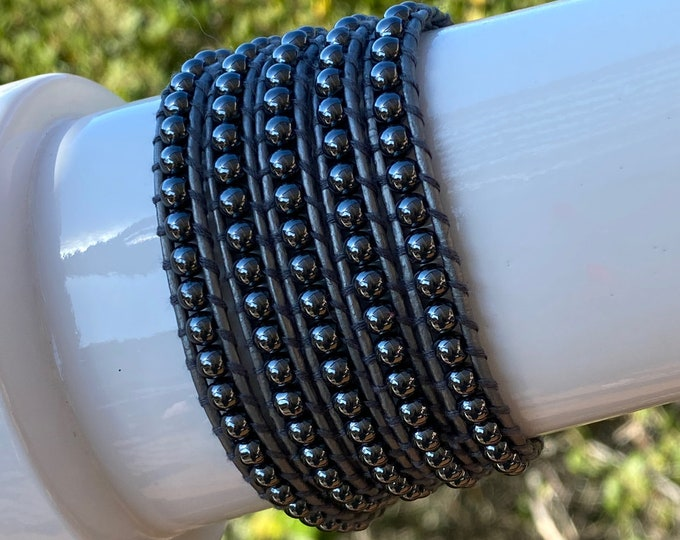Butter-soft Silver Leather and Hematite Gemstone Bead 5x Wrap Bracelet Quality Hand Sewn, Adjustable Loops to Fit Up to Plus Size