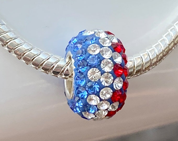 Red White Blue Crystal Bead Charm - 925 Sterling Silver Style Slide On Bead For European Snake Chain Charm Bracelets