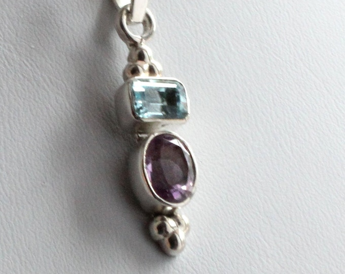 Blue Topaz and Amethyst Gemstone Sterling Silver Pendant Necklace