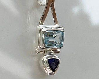 Blue Topaz and Iolite Gemstone Sterling Silver Pendant Gemstone Pendant Necklace - Designer Jewelry by Beautiful Silver Jewelry