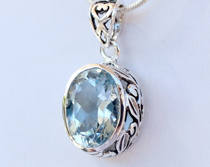 Blue Topaz Oval 6 ct. Pendant Sterling Silver Ornate Bezel in Leaf Design, December's Birthstone Gemstone, Complimentary SP Necklace Chain