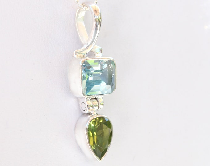 Sky Blue Topaz and Peridot Gemstone Pendant Necklace in Sterling Silver December and August Birthstone Gemstones by Beautiful Silver Jewelry
