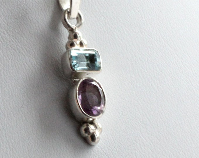 Blue Topaz Emerald-Cut and Amethyst Oval-Cut Faceted Gemstone Pendant Necklace Handcrafted in 925 Sterling Silver, Birthstone Necklace