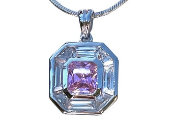 6 Colors CZ Pendant in Pink, Lilac, Champagne, Red, Clear or Yellow Center Stone Cubic Zirconia Sterling Silver - Plus Choose Chain