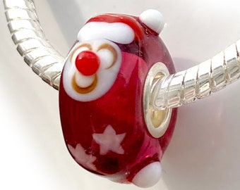Santa Red Lampwork Glass Bead and Stars, Sterling Silver Interior Slide On Bead For European Style Snake Chain Charm Bracelets, Save on More