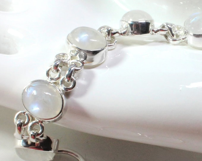 Rainbow Moonstone  28 Carat Sterling Silver Handcrafted Bracelet