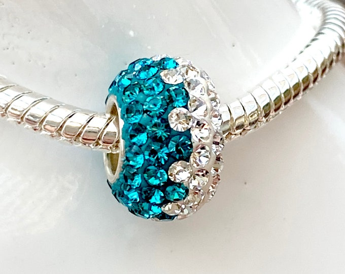 Teal Blue and White Wave Crystal Bead Charm - Sterling Silver Slide On Bead For European Snake Chain Charm Bracelets - Save on More