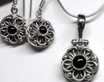 Black Onyx Ornate Earrings and Pendant or Set Sterling Silver Unique Custom Design by Beautiful Silver Jewelry Women Anniversary Birthday