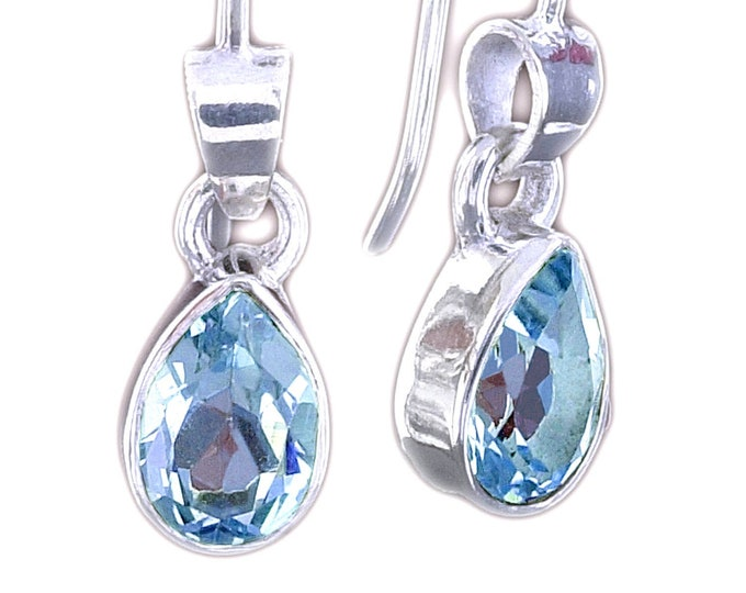Pear Cut BLUE TOPAZ Gemstone Earrings Handcrafted in 925 Sterling Silver - December Birthstone, Wedding, Anniversary Bridesmaids Jewelry