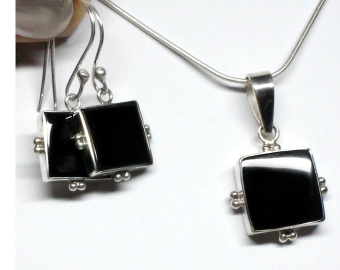 Black Onyx Sterling Silver Earrings and Pendant or Set Custom Design - Exclusively from Beautiful Silver Jewelry