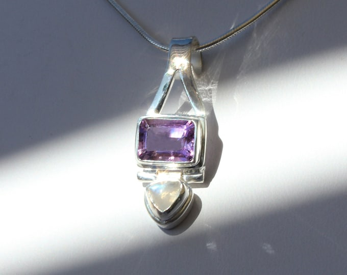 Moonstone and Emerald-cut Amethyst Sterling Silver Pendant Necklace