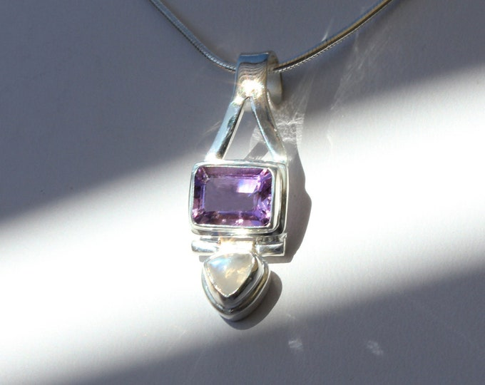 Moonstone and Amethyst Pendant Necklace Handcrafted 925 Sterling Silver Birthstone Jewelry for February and June Birthdays