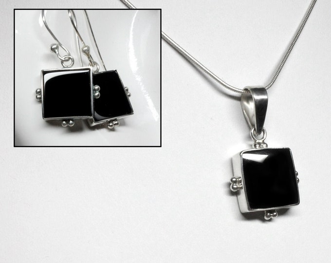Gorgeous Black Onyx Earrings Pendant Set, Genuine Black Onyx, Our Custom Design 925 Sterling Silver, Exclusively by Beautiful Silver Jewelry