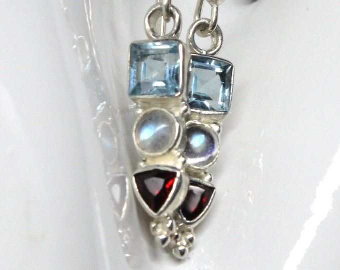 Blue Topaz, Moonstone, Garnet Gemstone Sterling Silver Earrings