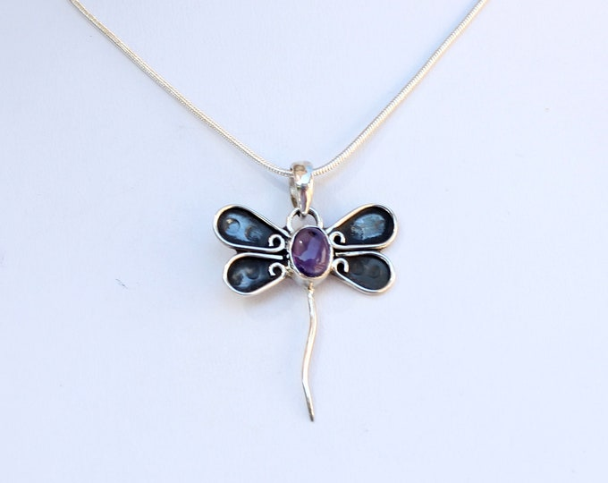 """Amethyst Gemstone Dragonfly Hand Crafted Sterling Silver Pendant, Exclusively from Beautiful Silver Jewelry, Plus 16, 18 or 20"""" SP Chain"""