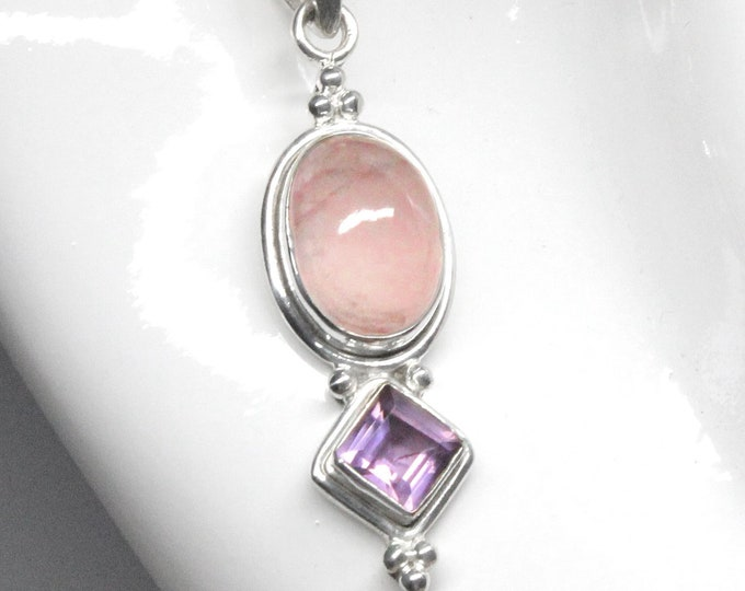 Rose Quartz, Amethyst Pendant and Rose Quartz Earrings Set in 925 Sterling Silver - Exclusively from Beautiful Silver Jewelry Gift Box